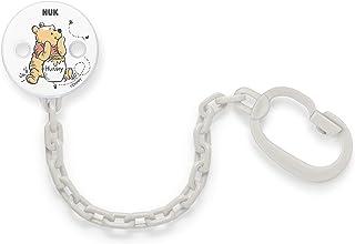 NUK 迪士尼小熊维尼奶嘴链 | 带夹子用于将奶嘴固定在婴儿衣服上 | 白色或灰色(颜色不可自由选择)