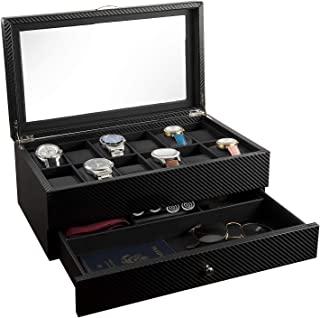 手表盒 - 男士展示盒和收纳盒 | 一流珠宝手表支架 | 12 个手表插槽和代客抽屉,适用于太阳镜、戒指、电话| 时尚的黑色颜色、玻璃顶部、碳纤维和人造皮革