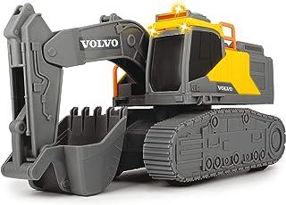 Dickie Toys 沃尔沃链条挖掘机,铲斗,挖掘机,玩具挖掘机,沙箱,施工现场,铲子,灯光和声音,包括电池,23 厘米高,黄色/灰色