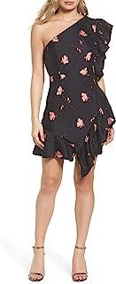 Bardot 女式 Lucia 褶边单肩连衣裙,XS 码 - 黑色