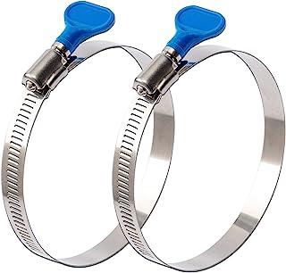 ISPINNER 2 件 5 英寸(约 12.7 厘米)钥匙型 304 不锈钢蠕虫齿轮软管夹,可调节尺寸范围 105-127 毫米,适用于干燥机通风口、集尘器和汽车