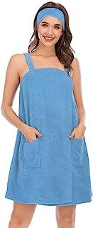 Veseacky 女式浴巾 帶口袋 可調節睡袍和頭巾 S-XXL 碼