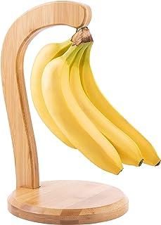 竹制香蕉挂钩 - 台面香蕉支架带钢钩竹香蕉挂钩葡萄衣架 水果展示架 适用于厨房酒吧台面食品储存