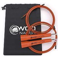 WOD Nation 快速跳绳 - 闪耀快速跳绳 - 拳击、MMA、武术或只是保持合身 + 免费跳跳跃训练 - 包括可调…