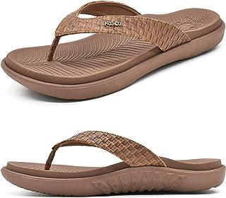 KUAILU 女式人字拖女式瑜伽垫舒适步行人字拖凉鞋带足底*足弓支撑一脚蹬室内户外夏季
