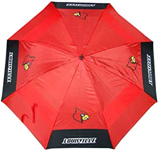 Team Golf NCAA 路易斯维尔红雀队高尔夫伞 62 英寸(约 157.5 厘米)带保护罩,双顶防风设计,自动打开按钮