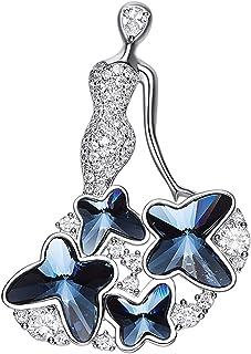 """Swarovski 施华洛世奇水晶胸针 """"Blue Enchantress"""" 镀铂优雅蝴蝶时尚别针 礼物 适合女孩服装袋 装饰 - Qiaofulicheerfully (蓝色)"""