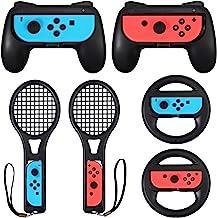 LiNKFOR 3 合 1 Joy-Con 配件包 适用于任天堂切换器 | 马里奥网球场比赛的网球拍 | 任天堂 Switch Joy-Con 把手 | 方向盘配件套装 适用于马里奥赛车