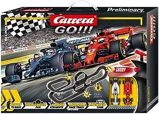 Carrera GO!!! No Limits 赛车轨道套装   8.9 米赛车跑道带法拉利 SF71H & Mercedes-AMG F1 W09 EQ Power+   带2个手动控制器和轨道部件   适合 6 岁以上儿童和成人