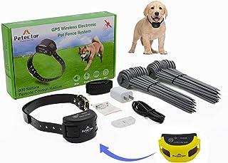 GPS 无线狗狗围栏系统,电动宠物围栏控制系统,带防水可充电训练项圈,适用于超过 5 磅露营场的狗狗和猫(2021 年*新)(黄色)