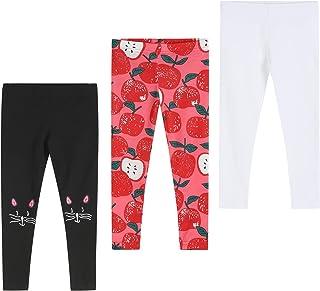 THEE BRON 幼儿/女童基本款棉质及踝打底裤 猫 / 苹果 / 白色 3T