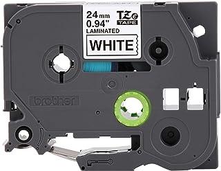 Brother 兄弟 P-touch TZE-251 胶带, 1 英寸(2.4 厘米)标准层压 P-touch 胶带, 黑色白色,适合室内或室外使用,防水 8 米,单包