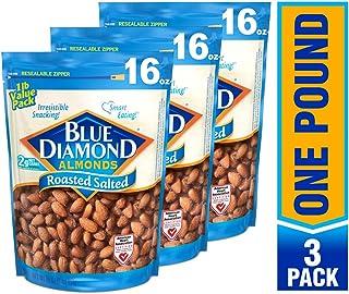 Blue Diamond Almonds 盐焗杏仁,16盎司(3包),454克