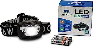 Wolfjaw 户外 LED 头灯适用于露营和徒步旅行 - 明亮的 350 流明 Cree XP-G LED - 红色和白色灯 - 3 种亮度级别 - 成人可调节头带