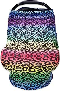 Hooyax 婴儿汽车座椅套,男孩和女孩适用,婴儿汽车座椅遮阳篷,柔软弹性护理罩,哺乳围巾,婴儿车罩,高脚椅套 - 粉色豹纹