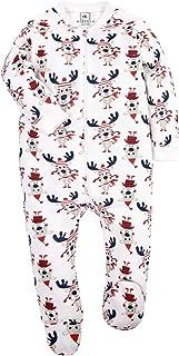 HONGLIN 中性款婴儿棉质连脚睡衣 2 件装 前拉链连身衣
