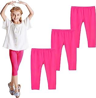 THEE BRON 幼儿/女童棉质七分裤夏季打底裤 Fl-3 件装-粉色 3T