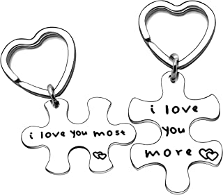 YONGHUI 情侣钥匙链套装钥匙圈适合男友女友丈夫妻子周年纪念情人节圣诞礼物我爱你
