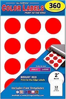 360 件装,5.08 厘米亮红色圆形彩色编码标签,适用于激光和喷墨打印机,5.08 厘米亮红色