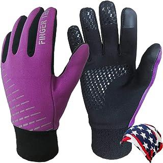 儿童冬季手套男孩女孩温暖触摸屏手套一对寒冷天气保暖软,适合青少年儿童户外运动学校自行车年龄 4-15 岁