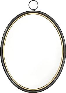 Creative Co-op 椭圆形黑金色金属框架反光镜,黑色