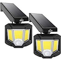 JUSLIT 室外可调式太阳能灯,72 COB LED运动感应灯,360°旋转头广角照明,2种模式的无线安全壁灯,IP6…