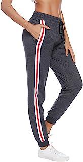 Aibrou 女式棉质睡衣裤柔软睡裤休闲轻便睡裤女士瑜伽裤弹力休闲裤带口袋