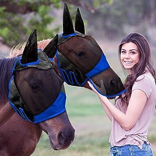 2 件马飞脸覆盖马脸套,带耳朵光滑弹性飞翔覆盖,防紫外线