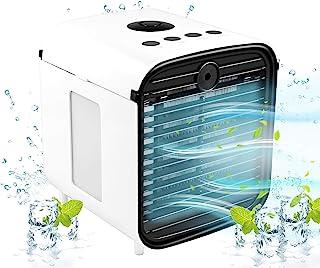 空气冷却器,5 合 1 便携式空调,带 LED 灯和净化器,迷你个人蒸发冷却器,适用于家庭和办公室书桌户外旅行