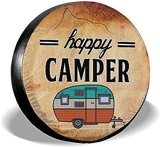 Happy Camper 备用轮胎罩可擦拭污垢轮胎保护露营轮轮胎罩通用防水轮罩适用于吉普拖车 RV SUV 卡车露营旅行拖车车辆配件 15 英寸