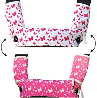 Drool and Teething Pad 双面有机棉 3 件套,适用于 Ergobaby Four Position 360 婴儿背带 Pink and White Butterflies