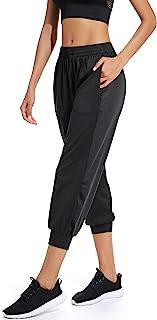 RIOJOY 女式活力七分裤慢跑裤,带两个口袋瑜伽锻炼高腰休闲裤