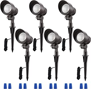 LEONLITE 4W LED户外景观聚光灯,可调节道路照明,IP65防水CRI90+,ETL 认证,3000K 暖白色,铝制外壳,6件装