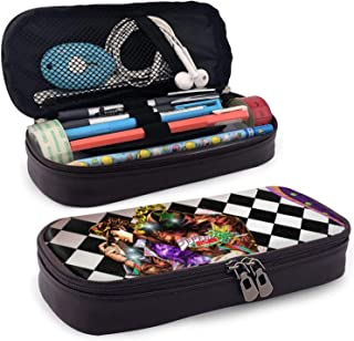 JoJo's 奇妙冒险皮革铅笔盒动漫 PU 大容量文具化妆盒收纳盒袋双拉链防水适用于学生学校工作办公室