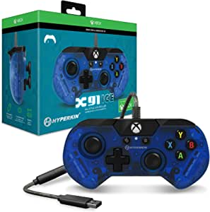 Hyperkin X91 Ice 有线控制器 适用于 Xbox One/ Windows 10 PC(太平洋蓝) - Xbox One 官方*