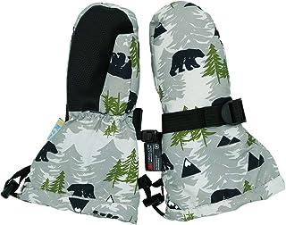 防水 Stay-on 冬季雪地和滑雪手套抓绒内衬,适合幼儿女孩和男孩