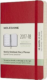 Moleskine 2017/7/1-2018/12/31 18 个月每周规划本口袋型软面笔记本 (猩红色)