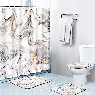 Britimes 4 件套浴帘套装,带 12 个挂钩,大理石画带防滑地毯,马桶盖和浴室垫,耐用防水,适用于浴室装饰套装,72 英寸 x 72 英寸