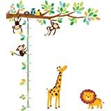 decowall dm-1401 5小猴子 Tree 儿童墙贴花墙贴纸即剥即贴可移除墙贴纸适用于儿童幼儿园卧室客厅