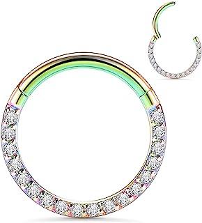 GAGABODY 双 CZ 隔膜珠宝 Daith 耳环 孔环穿孔珠宝 16G 环 316L *钢铰链鼻环耳环