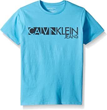 Calvin Klein 男孩 stamped 徽标圆领 t 恤
