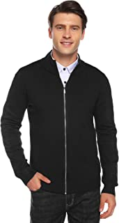 Hawiton 男式针织全拉链开衫毛衣修身立领黑色