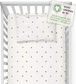 MakeMake Organics *婴儿床床单 GOTS 认证*棉质婴儿床床单 配有枕套 超软透气天然染料防* 中性婴儿床床单套装(樱桃色)