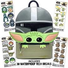 Controller Gear Baby Yoda 背包 - 星球大战: The Mandalorian - 儿童官方迪士尼袋钱包 + 贴花/贴纸 4 件装收藏品礼品女士男士儿童男孩 - 不是特定机器