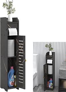 Doxo 小型浴室橱柜储物柜 带门和搁板 浴室收纳架 卫生纸收纳盒 黑色 金色