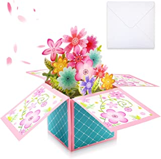 TKOnline 3D 花束美丽花卉弹出卡片,母亲节卡,生日卡,感谢卡,周年纪念卡,母亲节礼品,手工弹出卡片,适用于各种场合