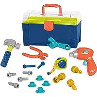 Battat - Battat Busy Builder 工具箱 - 耐用儿童工具套装 - 适合 3 岁儿童使用的假装游…