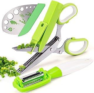 VIBIRIT 草本剪刀叶草剥落器,不锈钢 5 刀片厨房剪刀,适用于肉鸡、家禽、鱼、肉类、蔬菜、柯拉德绿、欧芹、迷迭香* | 可用洗碗机清洗
