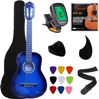 Vizcaya Beginner 31 英寸(约 78.7 厘米)经典原声吉他 1/4 尺寸尼龙弦经典吉他带琴袋、琴带、拨片、拨片夹、额外的琴弦、学生电子调谐器、成人-蓝色