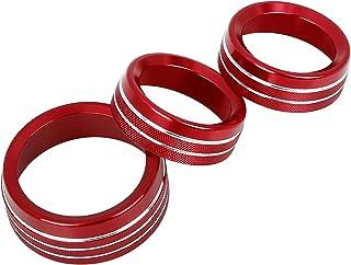 X AUTOHAUX 3 件红色铝合金汽车 AC 气候控制环旋钮装饰盖适用于道奇杜兰戈挑战者充电器